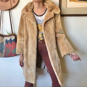 Vintage Long Teddy Coat with Fur Collar
